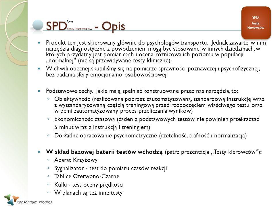SPDtesty kierowców - Opis
