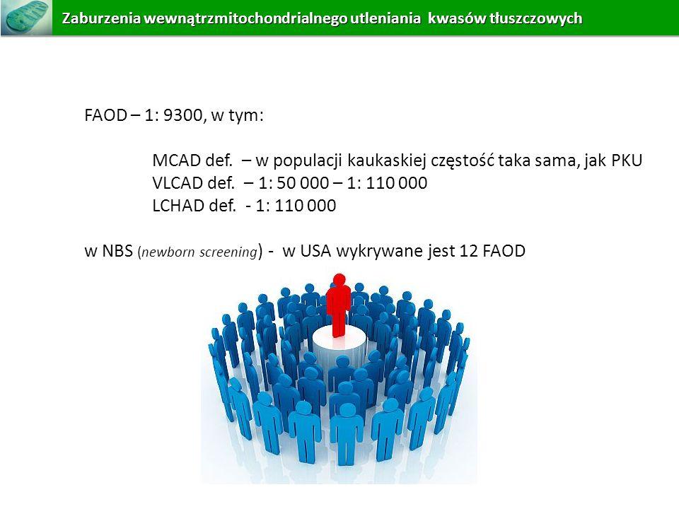 MCAD def. – w populacji kaukaskiej częstość taka sama, jak PKU