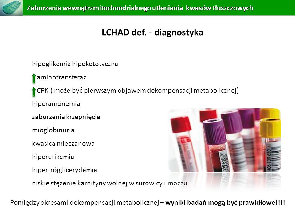 LCHAD def. - diagnostyka