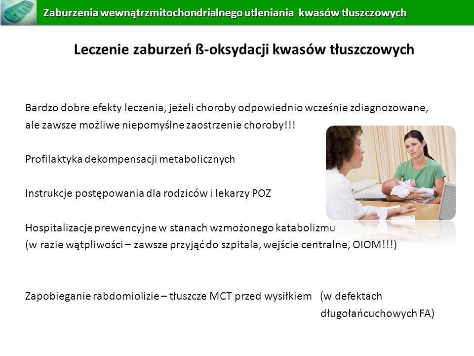 Leczenie zaburzeń ß-oksydacji kwasów tłuszczowych