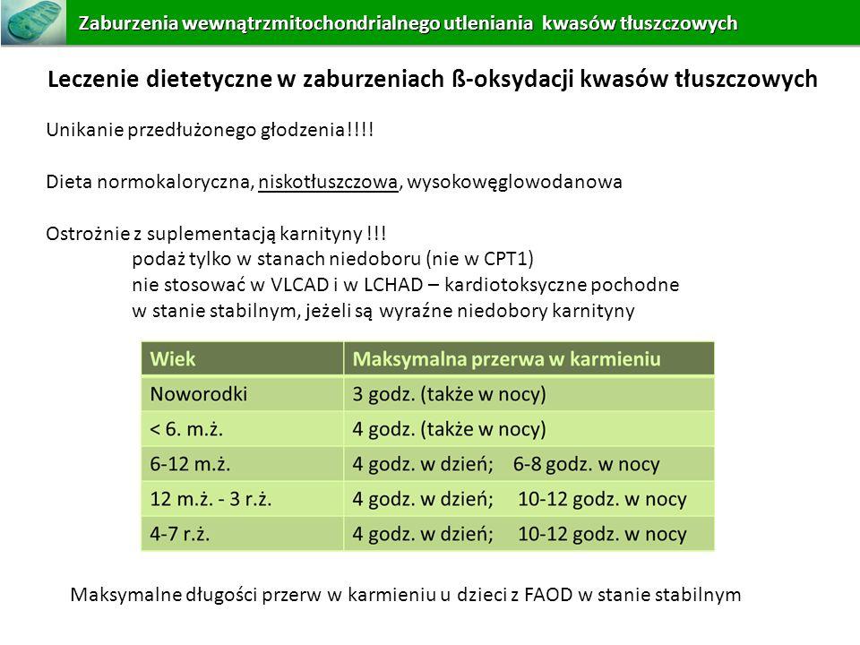 Leczenie dietetyczne w zaburzeniach ß-oksydacji kwasów tłuszczowych