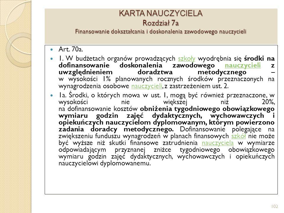 KARTA NAUCZYCIELA Rozdział 7a Finansowanie dokształcania i doskonalenia zawodowego nauczycieli
