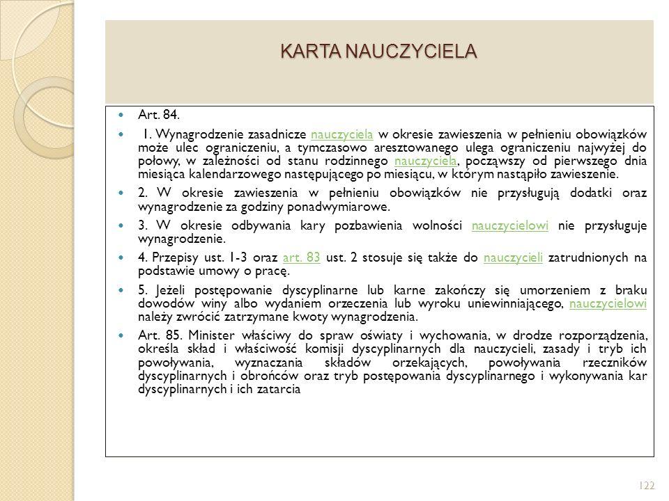 KARTA NAUCZYCIELA Art. 84.