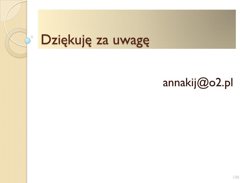 Dziękuję za uwagę annakij@o2.pl