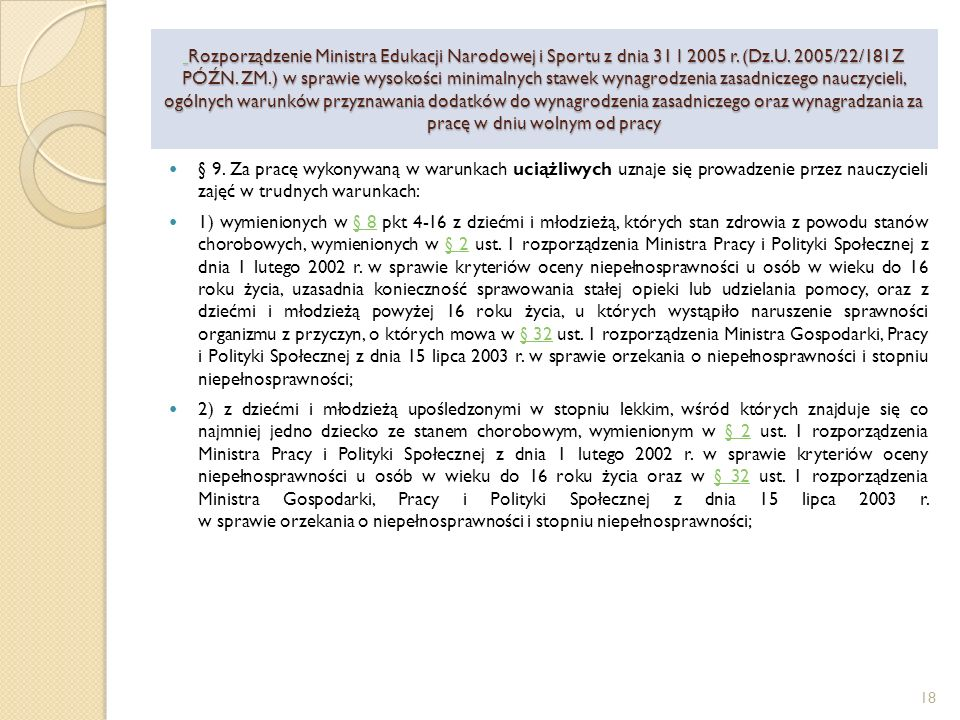 Rozporządzenie Ministra Edukacji Narodowej i Sportu z dnia 31 I 2005 r