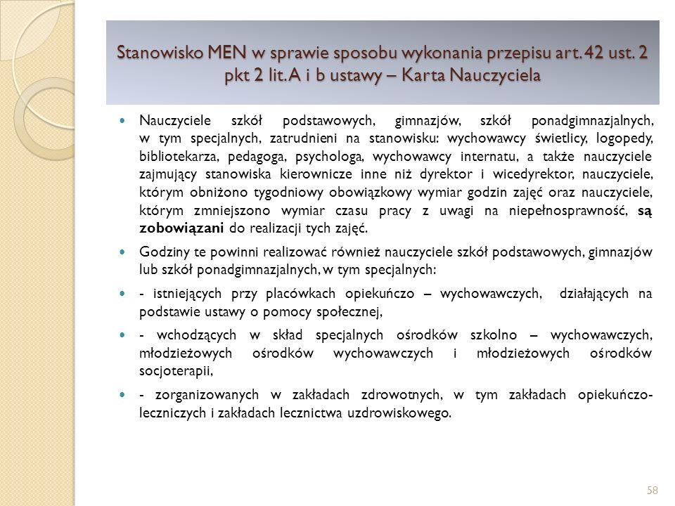 Stanowisko MEN w sprawie sposobu wykonania przepisu art. 42 ust