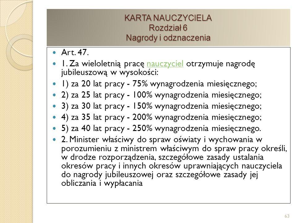 KARTA NAUCZYCIELA Rozdział 6 Nagrody i odznaczenia