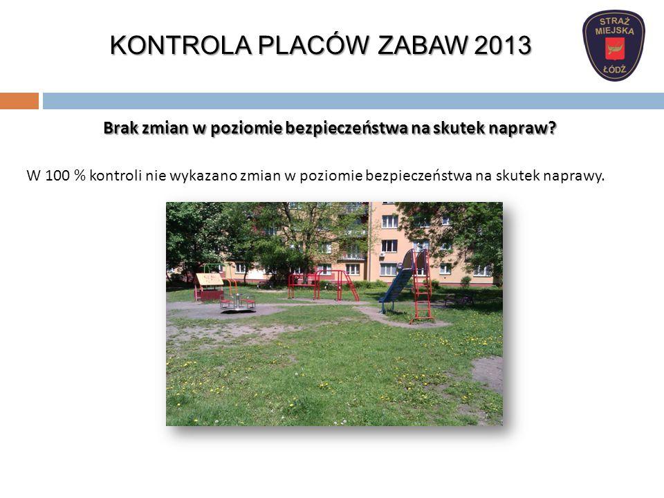 KONTROLA PLACÓW ZABAW 2013 Brak zmian w poziomie bezpieczeństwa na skutek napraw