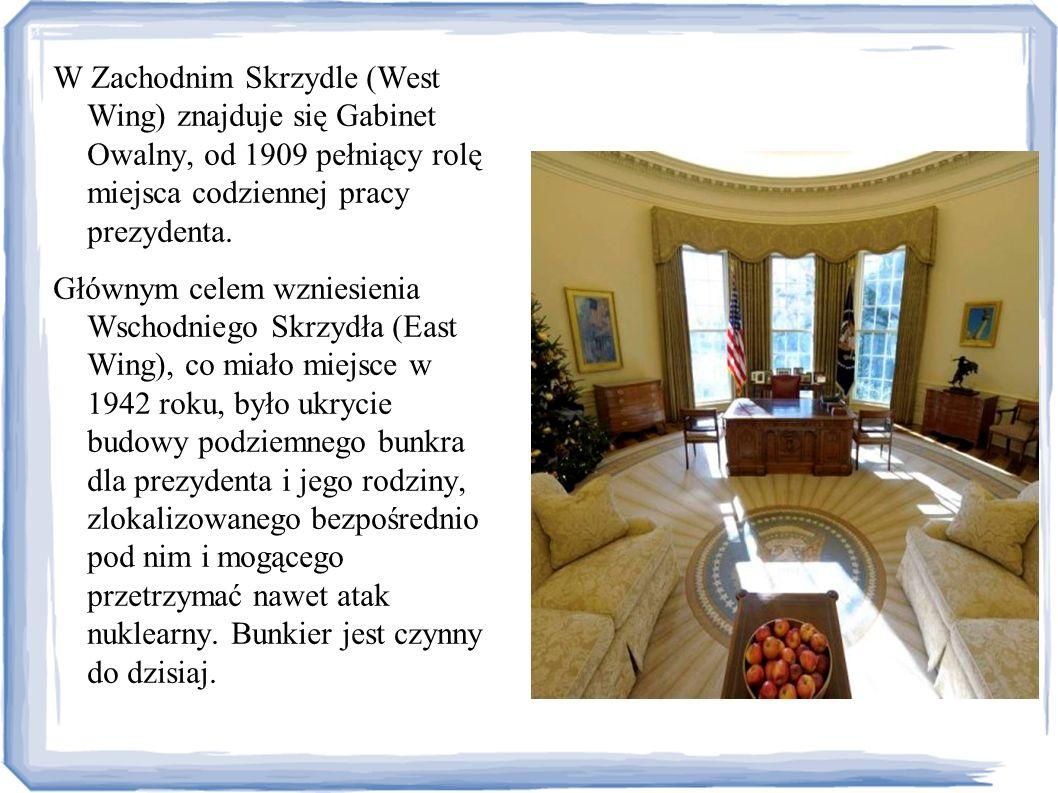 W Zachodnim Skrzydle (West Wing) znajduje się Gabinet Owalny, od 1909 pełniący rolę miejsca codziennej pracy prezydenta.