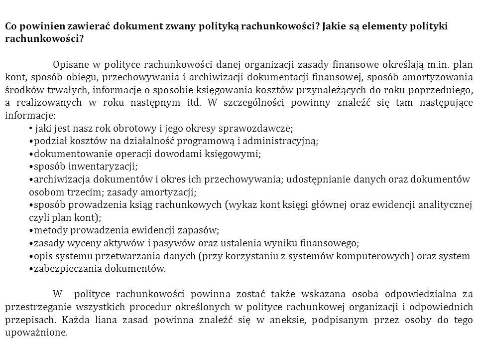 Co powinien zawierać dokument zwany polityką rachunkowości