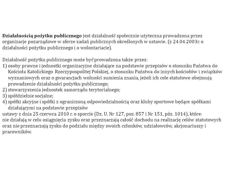 Działalnością pożytku publicznego jest działalność społecznie użyteczna prowadzona przez organizacje pozarządowe w sferze zadań publicznych określonych w ustawie. (z 24.04.2003r. o działalności pożytku publicznego i o wolontariacie).