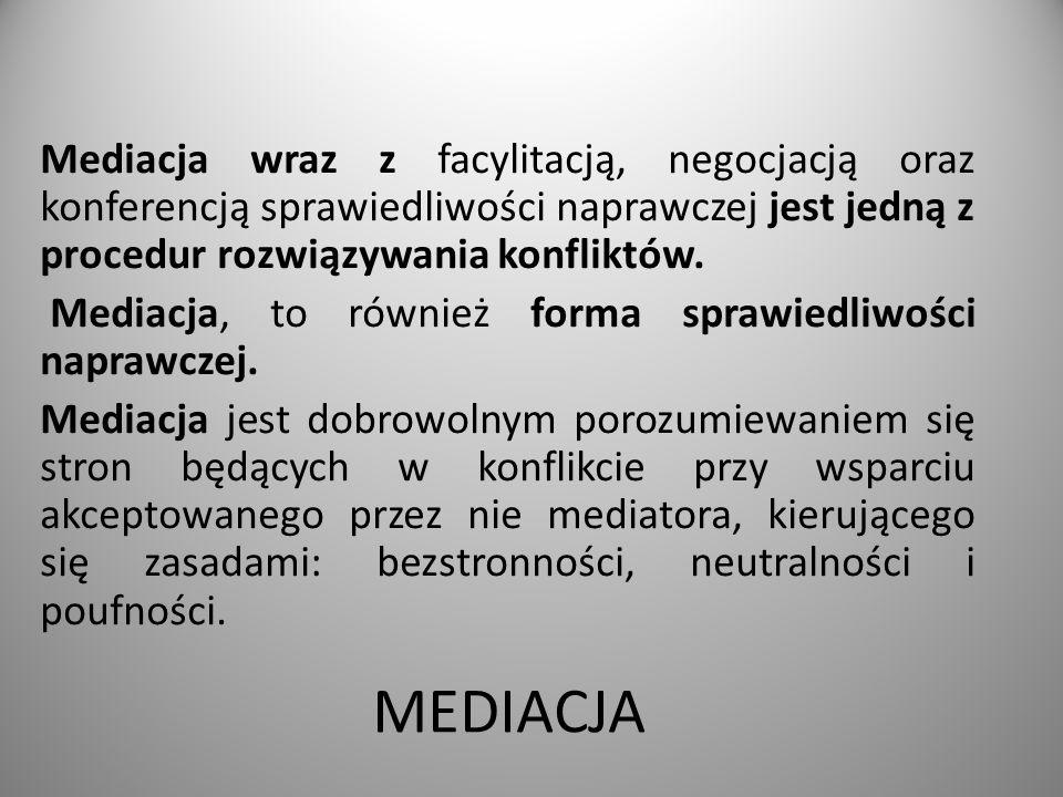 Mediacja wraz z facylitacją, negocjacją oraz konferencją sprawiedliwości naprawczej jest jedną z procedur rozwiązywania konfliktów. Mediacja, to również forma sprawiedliwości naprawczej. Mediacja jest dobrowolnym porozumiewaniem się stron będących w konflikcie przy wsparciu akceptowanego przez nie mediatora, kierującego się zasadami: bezstronności, neutralności i poufności.