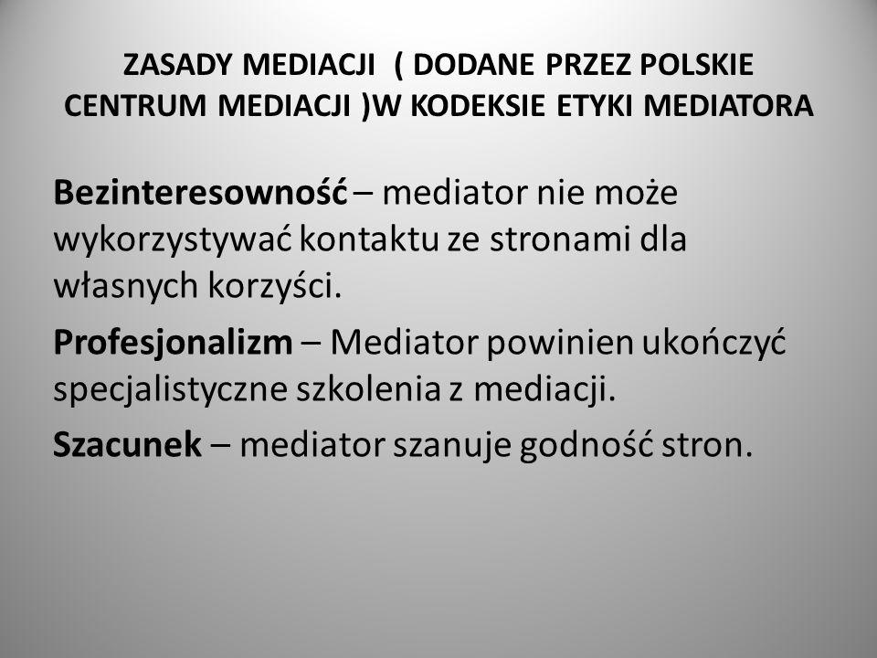 ZASADY MEDIACJI ( DODANE PRZEZ POLSKIE CENTRUM MEDIACJI )W KODEKSIE ETYKI MEDIATORA