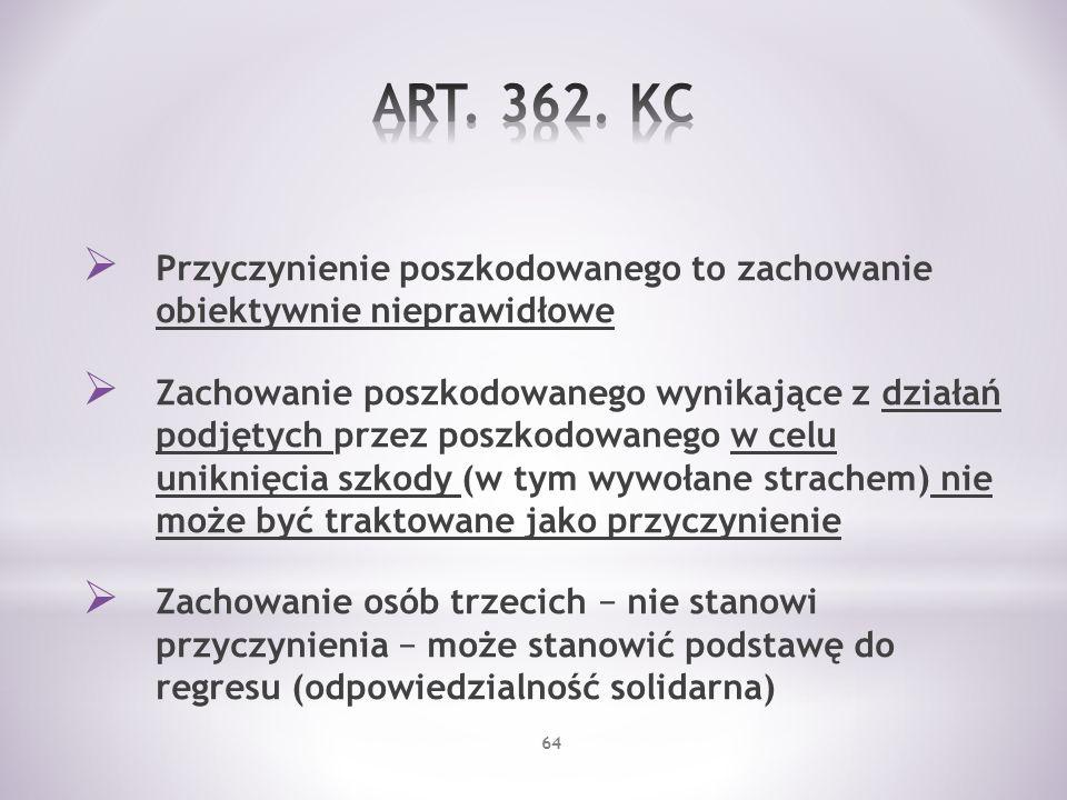 ART. 362. KC Przyczynienie poszkodowanego to zachowanie obiektywnie nieprawidłowe.