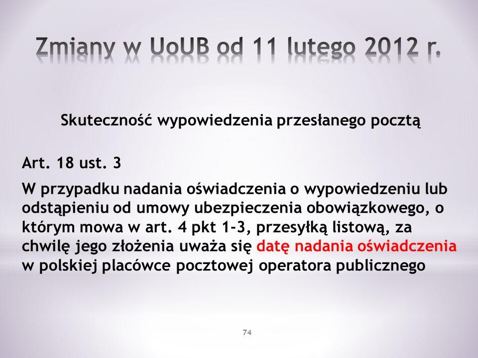 Zmiany w UoUB od 11 lutego 2012 r.