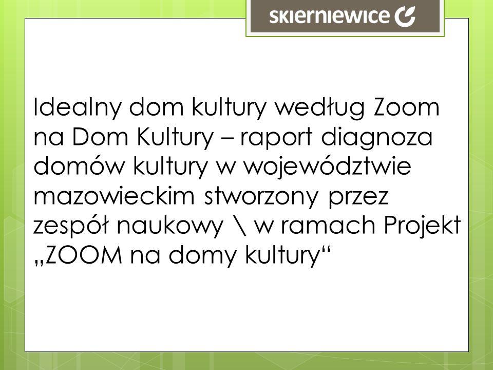 """Idealny dom kultury według Zoom na Dom Kultury – raport diagnoza domów kultury w województwie mazowieckim stworzony przez zespół naukowy \ w ramach Projekt """"ZOOM na domy kultury"""