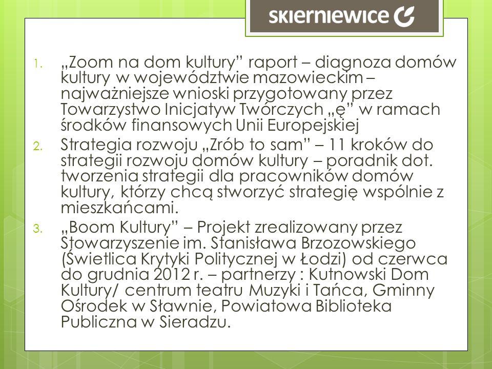 """""""Zoom na dom kultury raport – diagnoza domów kultury w województwie mazowieckim – najważniejsze wnioski przygotowany przez Towarzystwo Inicjatyw Twórczych """"ę w ramach środków finansowych Unii Europejskiej"""