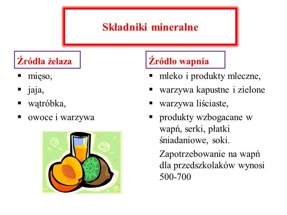 Składniki mineralne Źródła żelaza Źródło wapnia mięso, jaja, wątróbka,