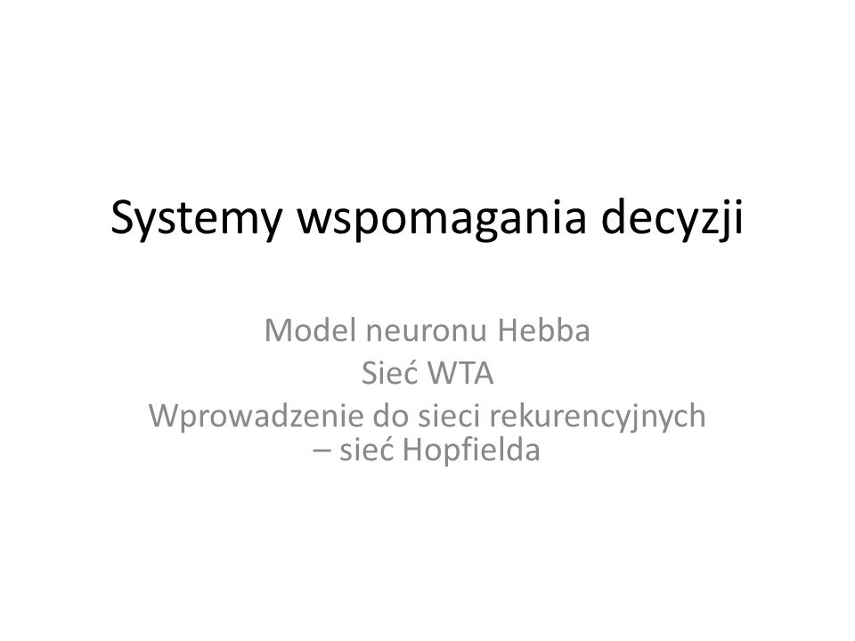 Systemy wspomagania decyzji