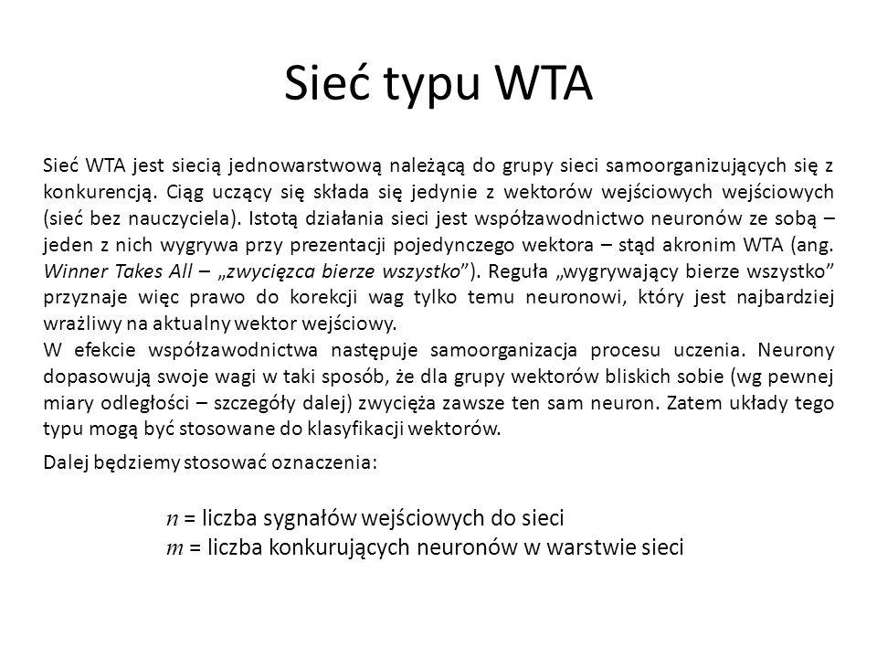 Sieć typu WTA n = liczba sygnałów wejściowych do sieci