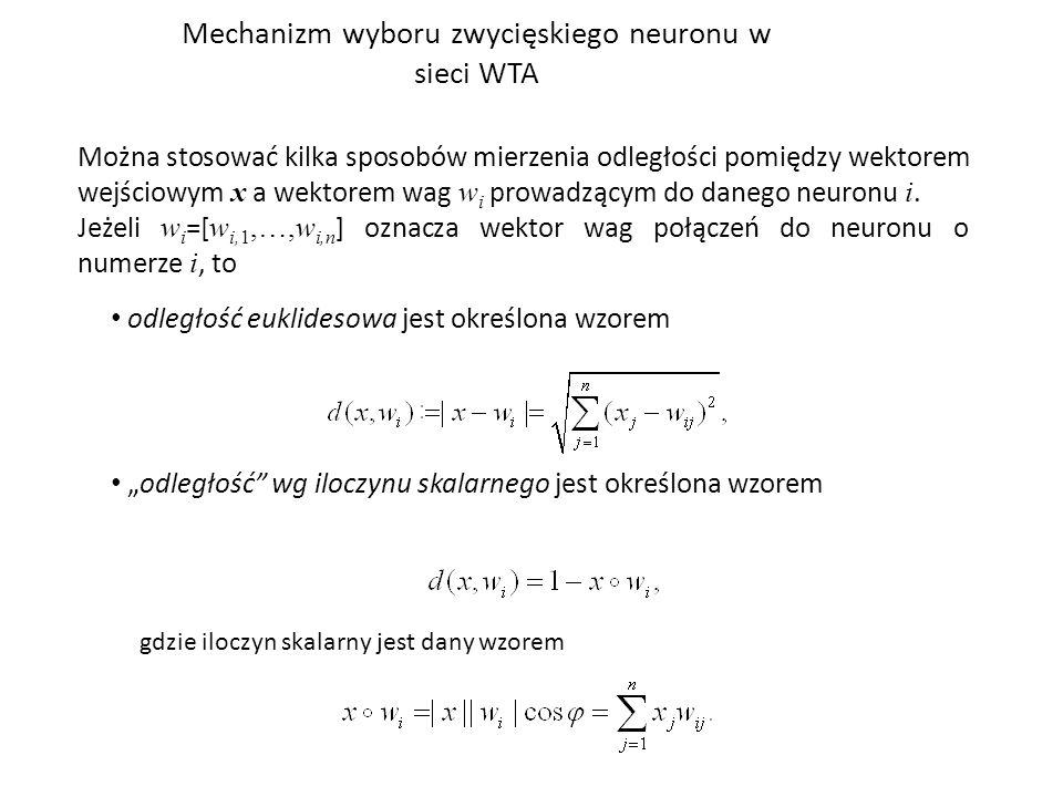 Mechanizm wyboru zwycięskiego neuronu w sieci WTA