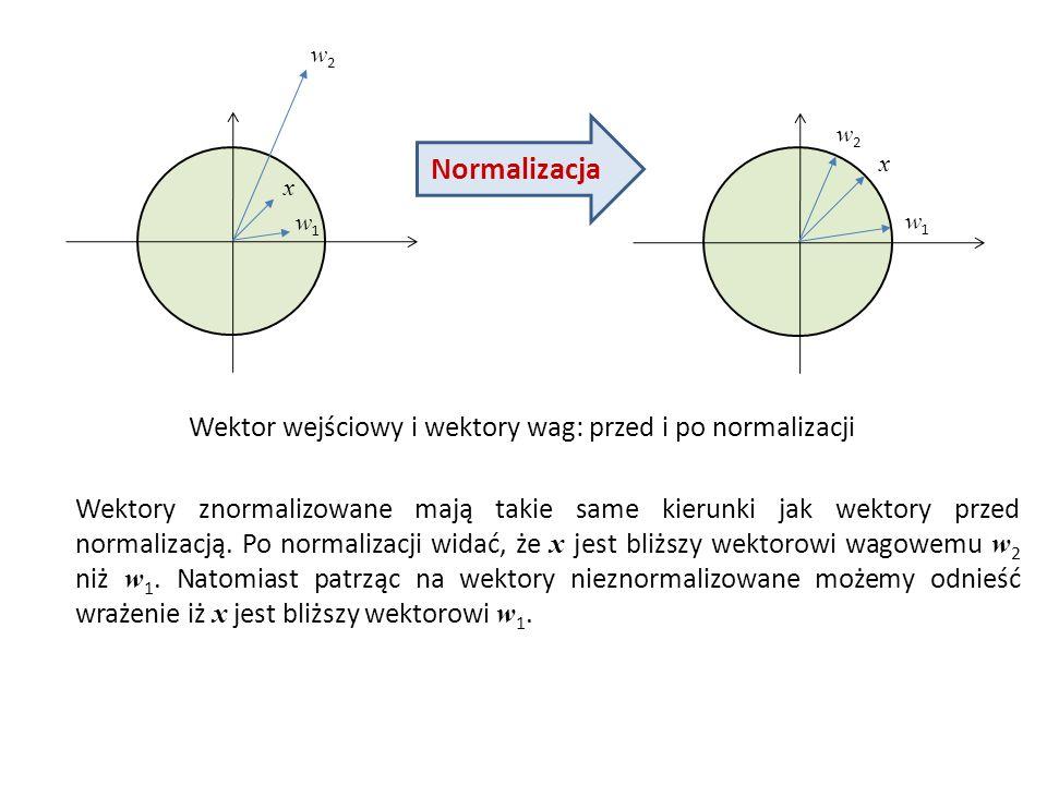 Normalizacja Wektor wejściowy i wektory wag: przed i po normalizacji