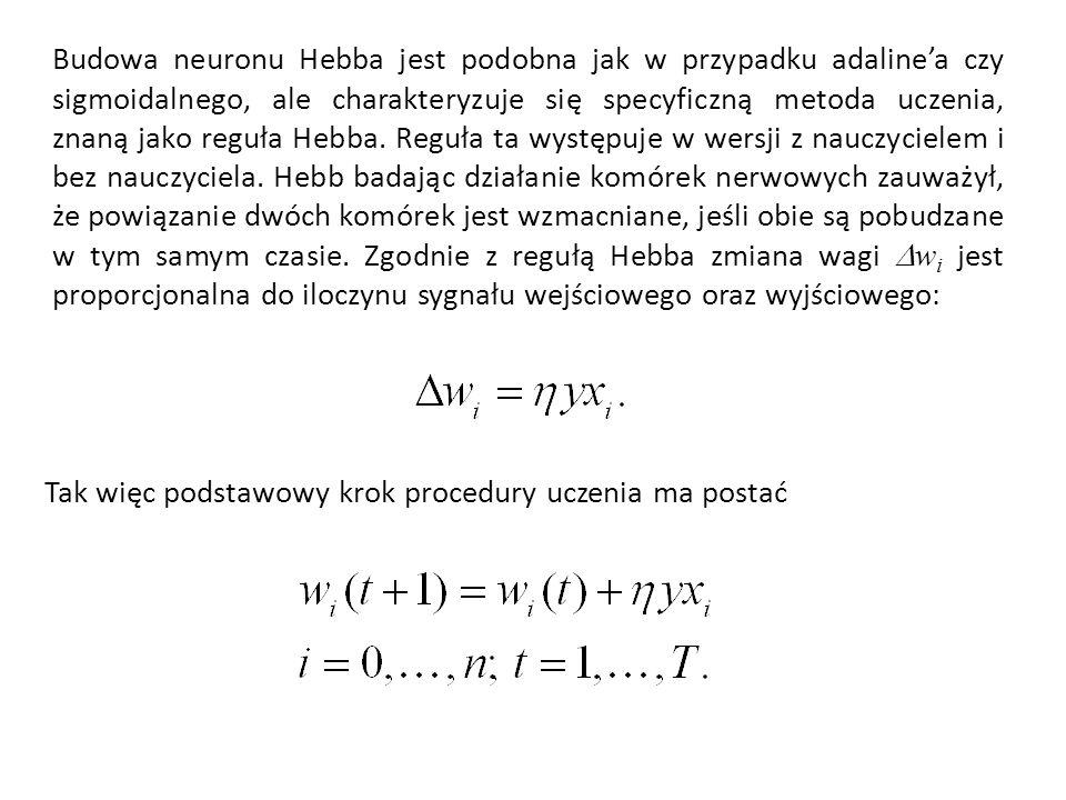 Budowa neuronu Hebba jest podobna jak w przypadku adaline'a czy sigmoidalnego, ale charakteryzuje się specyficzną metoda uczenia, znaną jako reguła Hebba. Reguła ta występuje w wersji z nauczycielem i bez nauczyciela. Hebb badając działanie komórek nerwowych zauważył, że powiązanie dwóch komórek jest wzmacniane, jeśli obie są pobudzane w tym samym czasie. Zgodnie z regułą Hebba zmiana wagi Dwi jest proporcjonalna do iloczynu sygnału wejściowego oraz wyjściowego: