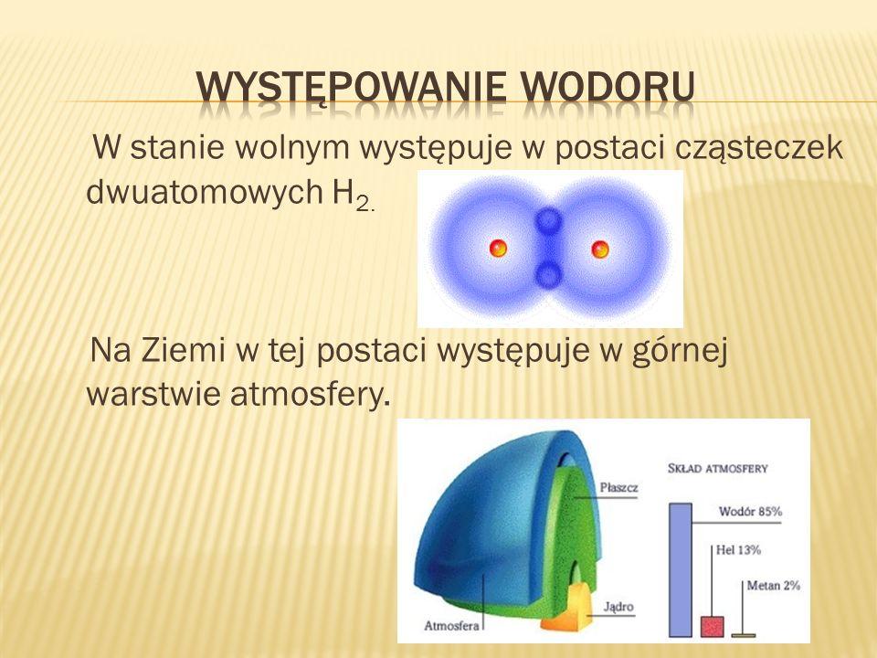 Występowanie wodoru W stanie wolnym występuje w postaci cząsteczek dwuatomowych H2.