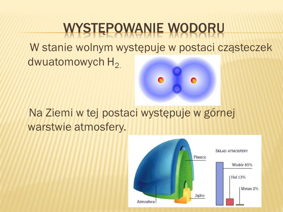 Występowanie wodoruW stanie wolnym występuje w postaci cząsteczek dwuatomowych H2.