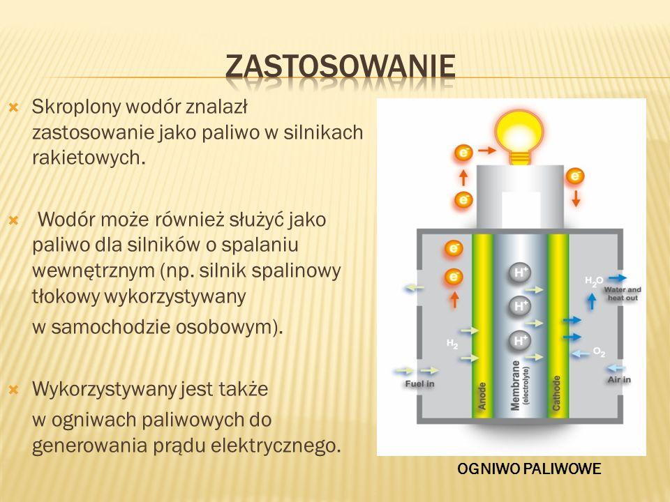 zastosowanie Skroplony wodór znalazł zastosowanie jako paliwo w silnikach rakietowych.