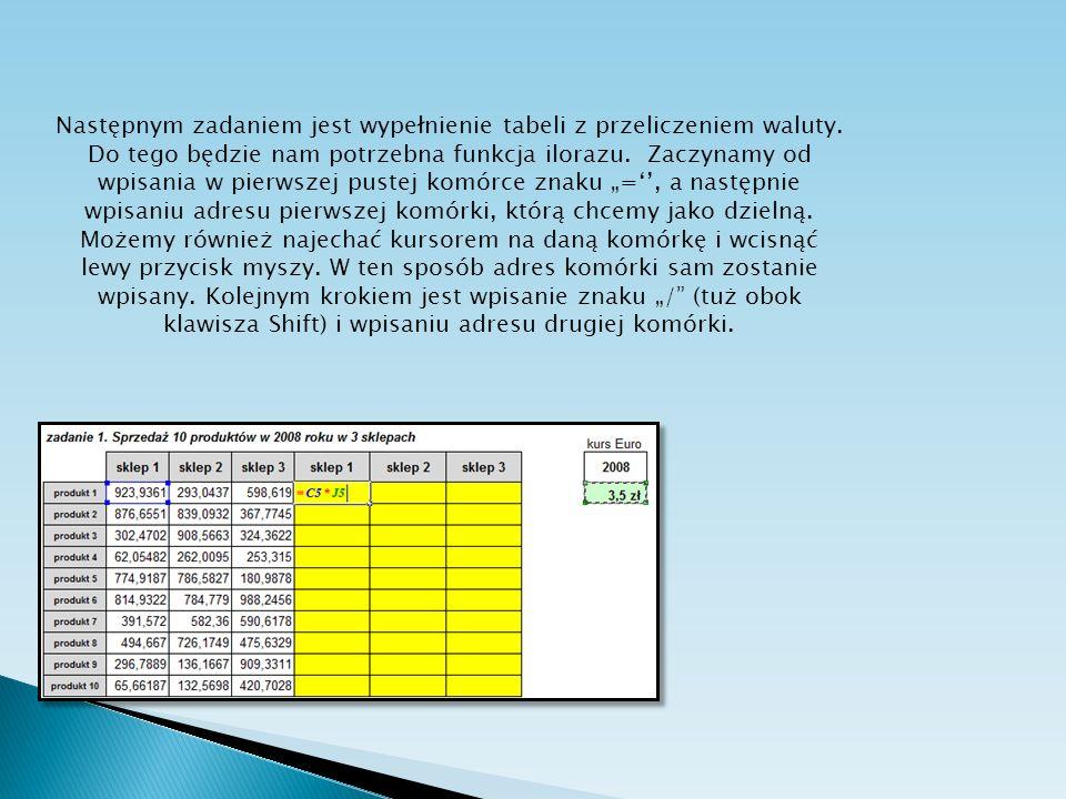 Następnym zadaniem jest wypełnienie tabeli z przeliczeniem waluty