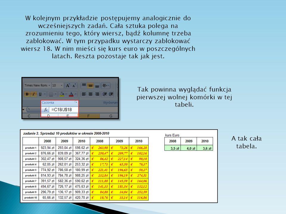 Tak powinna wyglądać funkcja pierwszej wolnej komórki w tej tabeli.