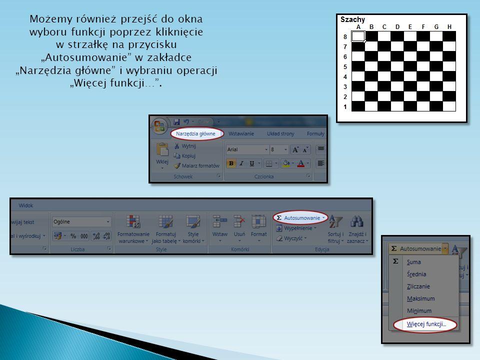 """Możemy również przejść do okna wyboru funkcji poprzez kliknięcie w strzałkę na przycisku """"Autosumowanie w zakładce """"Narzędzia główne i wybraniu operacji """"Więcej funkcji… ."""