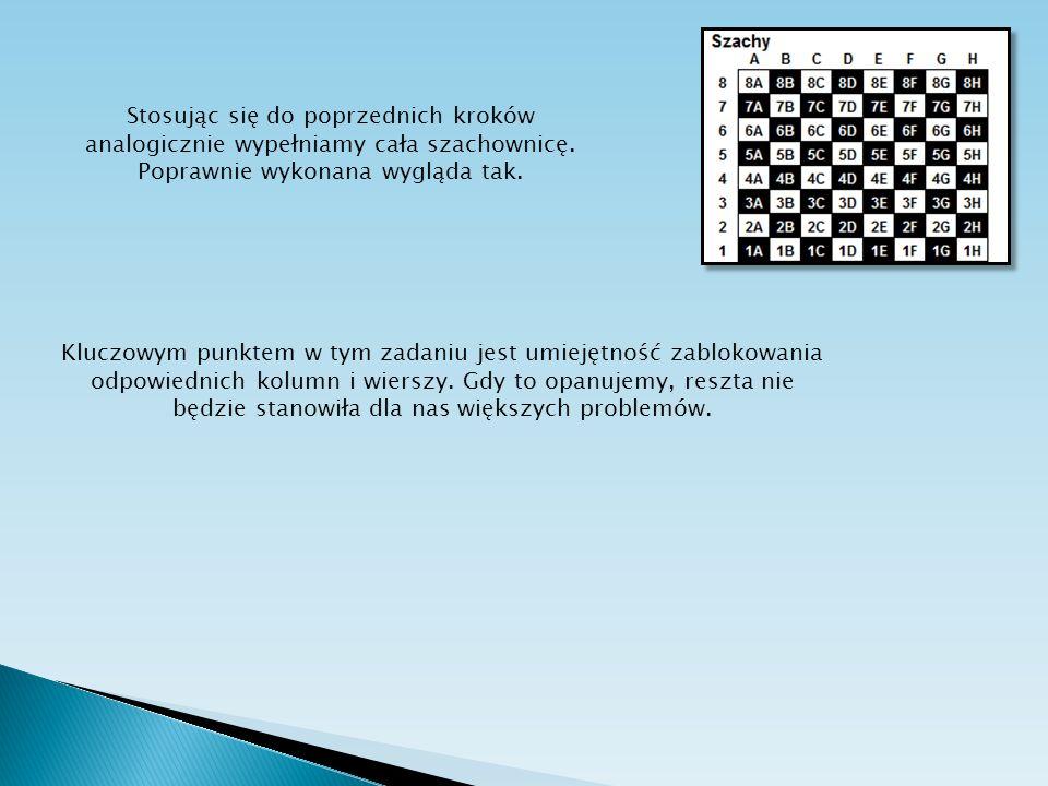 Stosując się do poprzednich kroków analogicznie wypełniamy cała szachownicę. Poprawnie wykonana wygląda tak.
