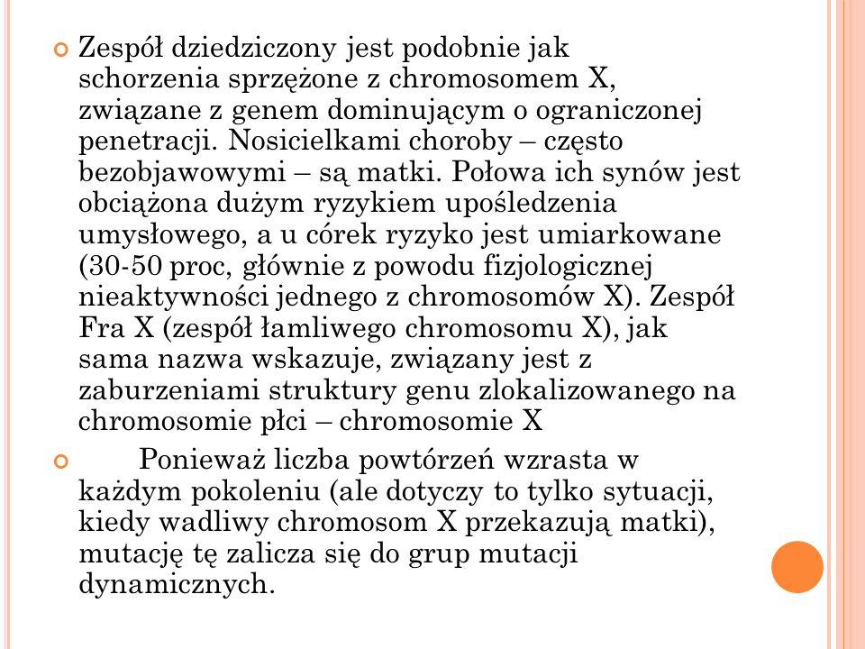 Zespół dziedziczony jest podobnie jak schorzenia sprzężone z chromosomem X, związane z genem dominującym o ograniczonej penetracji. Nosicielkami choroby – często bezobjawowymi – są matki. Połowa ich synów jest obciążona dużym ryzykiem upośledzenia umysłowego, a u córek ryzyko jest umiarkowane (30-50 proc, głównie z powodu fizjologicznej nieaktywności jednego z chromosomów X). Zespół Fra X (zespół łamliwego chromosomu X), jak sama nazwa wskazuje, związany jest z zaburzeniami struktury genu zlokalizowanego na chromosomie płci – chromosomie X