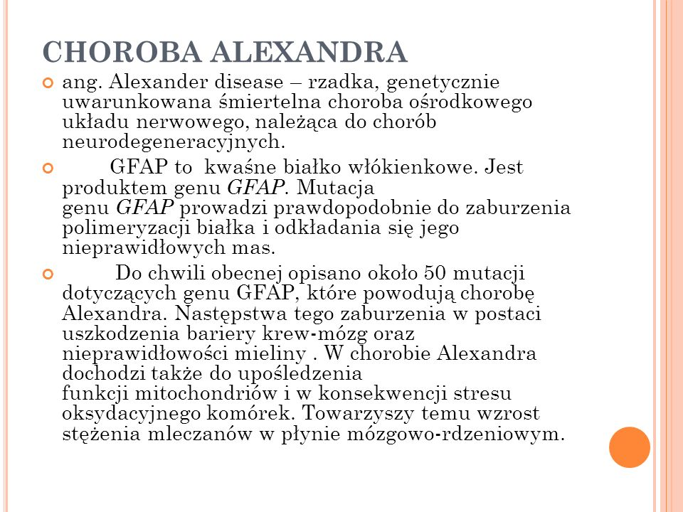 CHOROBA ALEXANDRA