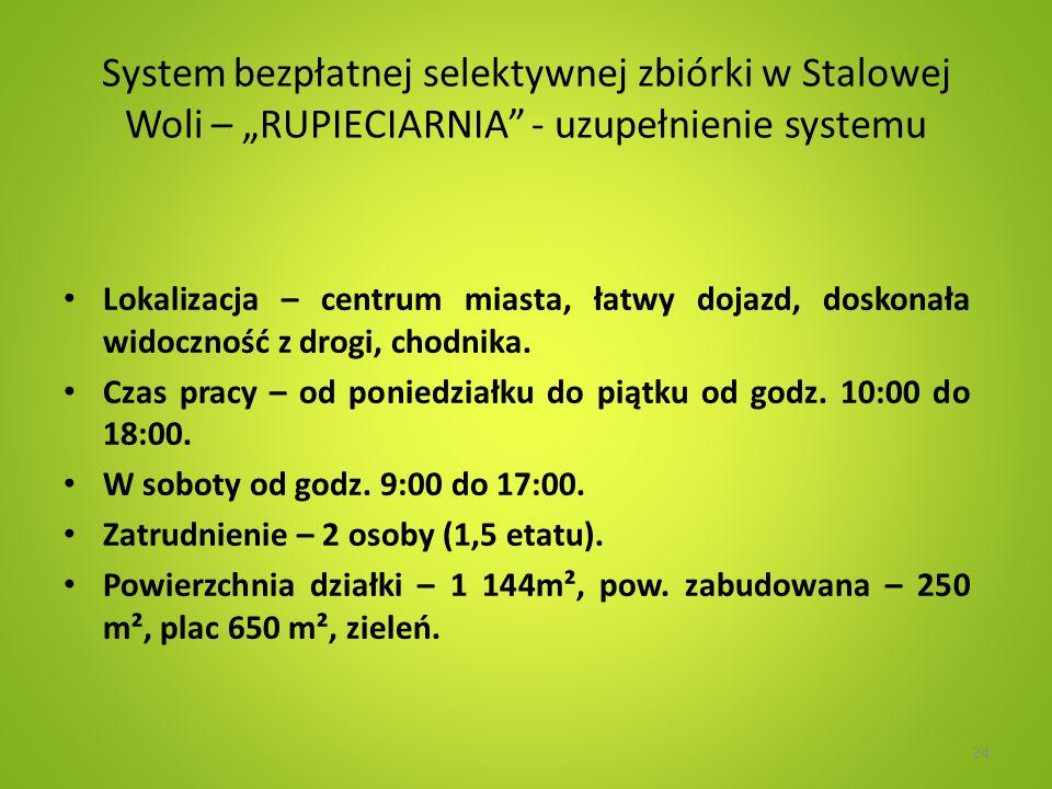 """System bezpłatnej selektywnej zbiórki w Stalowej Woli – """"RUPIECIARNIA - uzupełnienie systemu"""