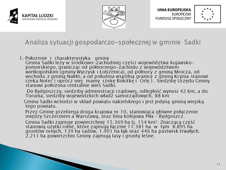 Analiza sytuacji gospodarczo-społecznej w gminie Sadki