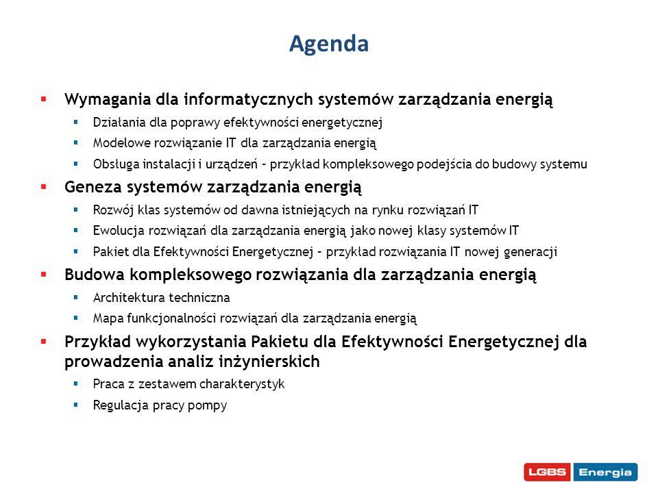 Agenda Wymagania dla informatycznych systemów zarządzania energią