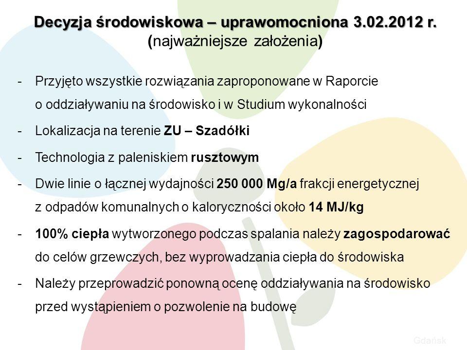 Decyzja środowiskowa – uprawomocniona 3.02.2012 r.