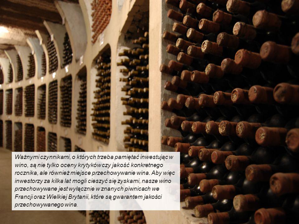 Ważnymi czynnikami, o których trzeba pamiętać inwestując w wino, są nie tylko oceny krytyków czy jakość konkretnego rocznika, ale również miejsce przechowywanie wina.