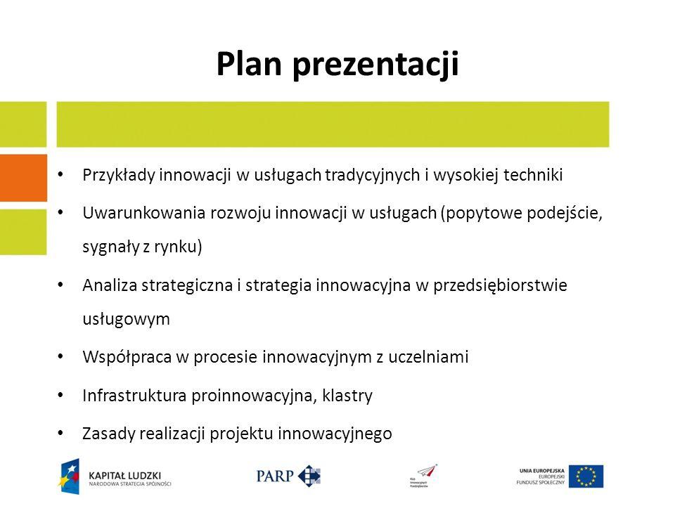 Plan prezentacji Przykłady innowacji w usługach tradycyjnych i wysokiej techniki.
