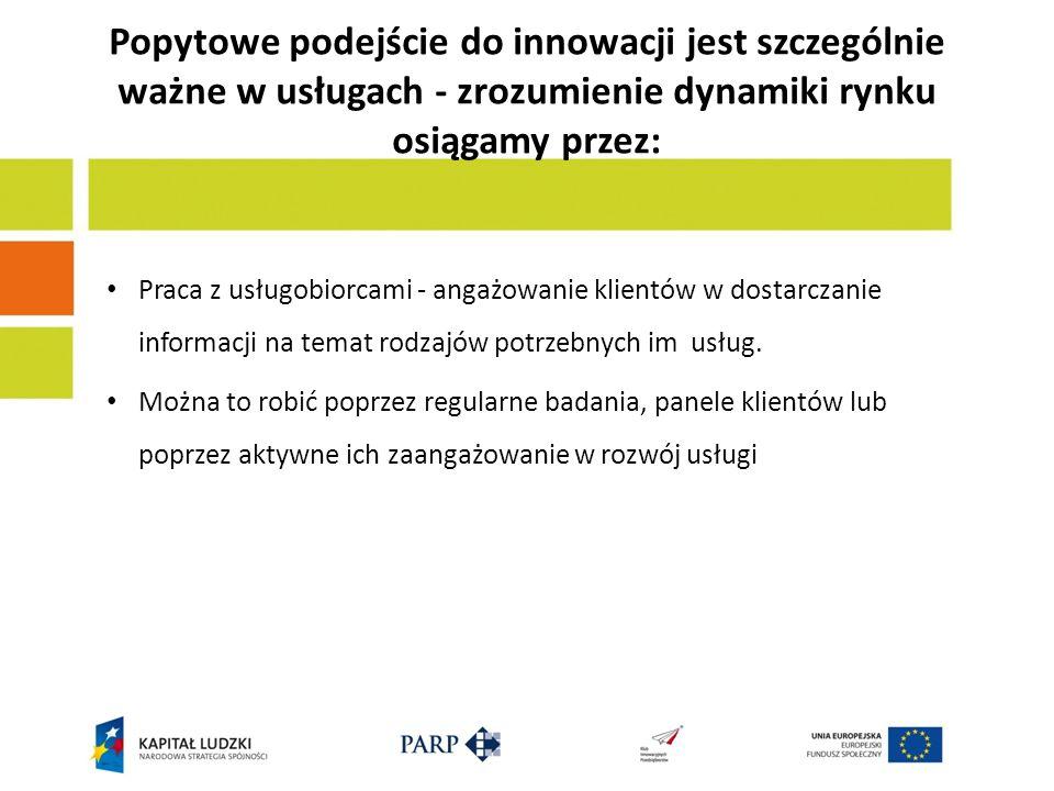 Popytowe podejście do innowacji jest szczególnie ważne w usługach - zrozumienie dynamiki rynku osiągamy przez: