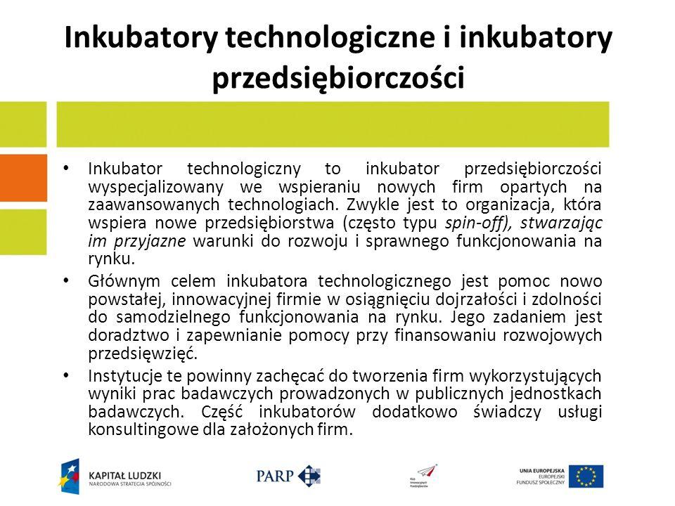 Inkubatory technologiczne i inkubatory przedsiębiorczości