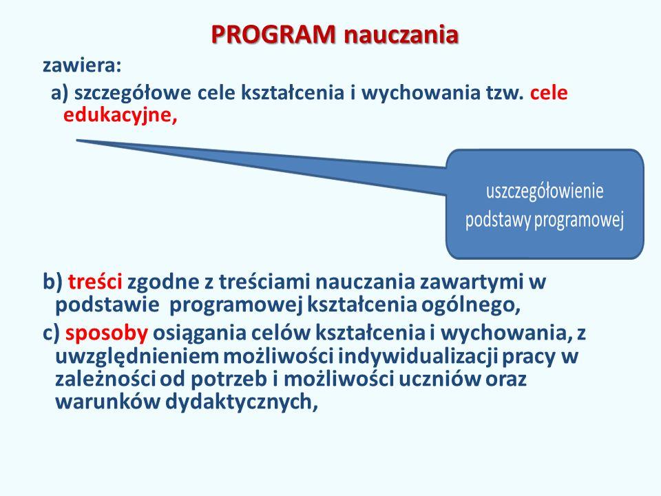 PROGRAM nauczania zawiera: a) szczegółowe cele kształcenia i wychowania tzw. cele edukacyjne,