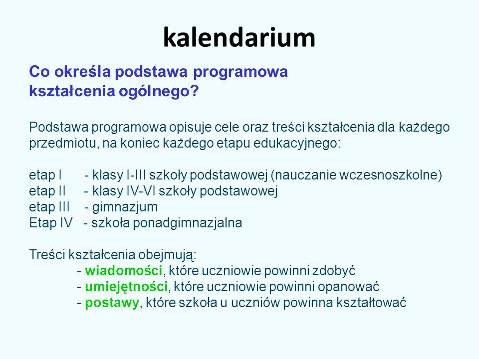 kalendarium Co określa podstawa programowa kształcenia ogólnego