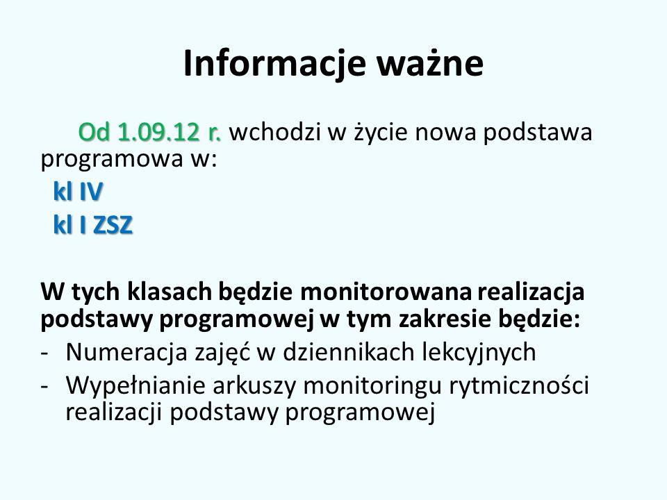 Informacje ważne Od 1.09.12 r. wchodzi w życie nowa podstawa programowa w: kl IV. kl I ZSZ.
