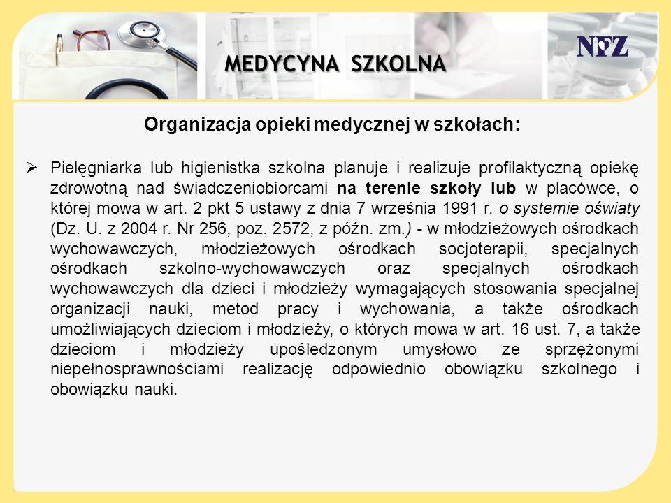 Organizacja opieki medycznej w szkołach: