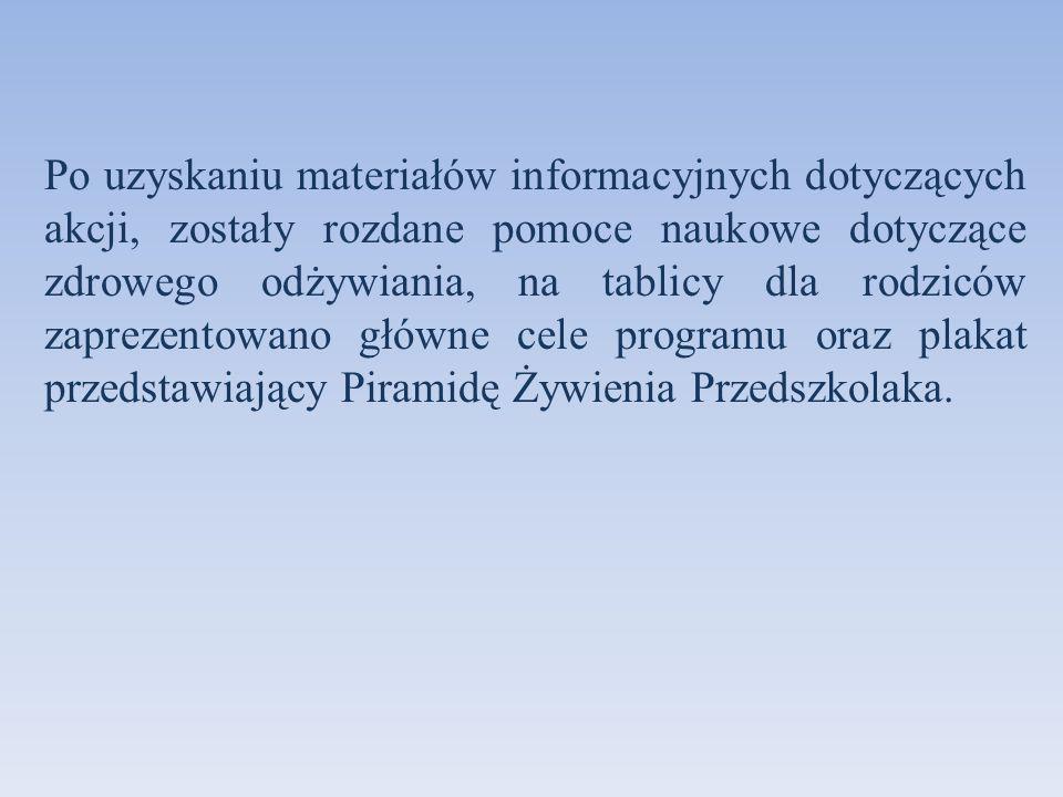 Po uzyskaniu materiałów informacyjnych dotyczących akcji, zostały rozdane pomoce naukowe dotyczące zdrowego odżywiania, na tablicy dla rodziców zaprezentowano główne cele programu oraz plakat przedstawiający Piramidę Żywienia Przedszkolaka.