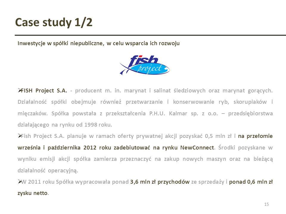 Case study 1/2Inwestycje w spółki niepubliczne, w celu wsparcia ich rozwoju.